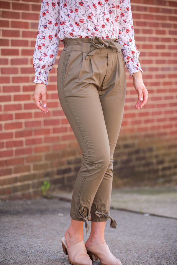 Tint of Olive Paper Bag Side Tie Trousers