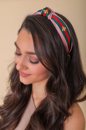 Busy Bee Top Knot Headband- Pink - Hair Accessories - Wight Elephant Boutique