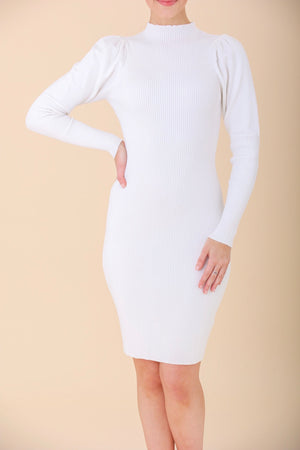 Veiled in White Mock Neck Ribbed Puff Shoulder Sweater Dress