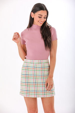Wrapped in Color Checkered H-Line Skirt