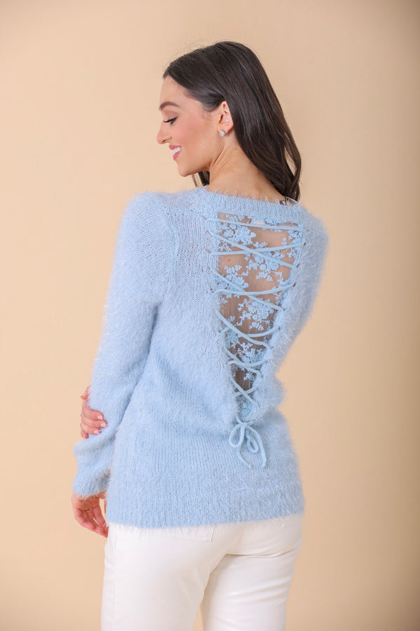 Wrapped in Lace Corset Back Sweater