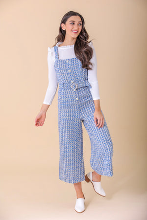 Bianca Tweed Pearl Studded Jumpsuit - Jumpsuits - Wight Elephant Boutique
