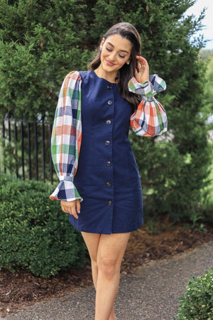 A Perfect Match Navy Gingham Sleeve Dress - Dresses - Wight Elephant Boutique