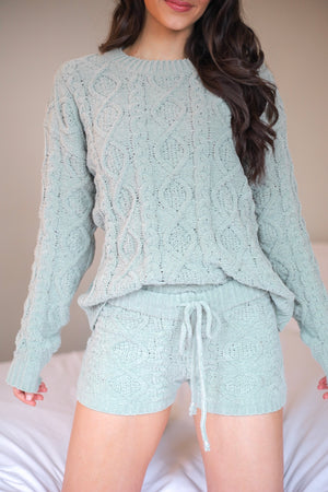 Lush and Lovely Cable Knit Fleece Sweater - Sage - Tops - Wight Elephant Boutique