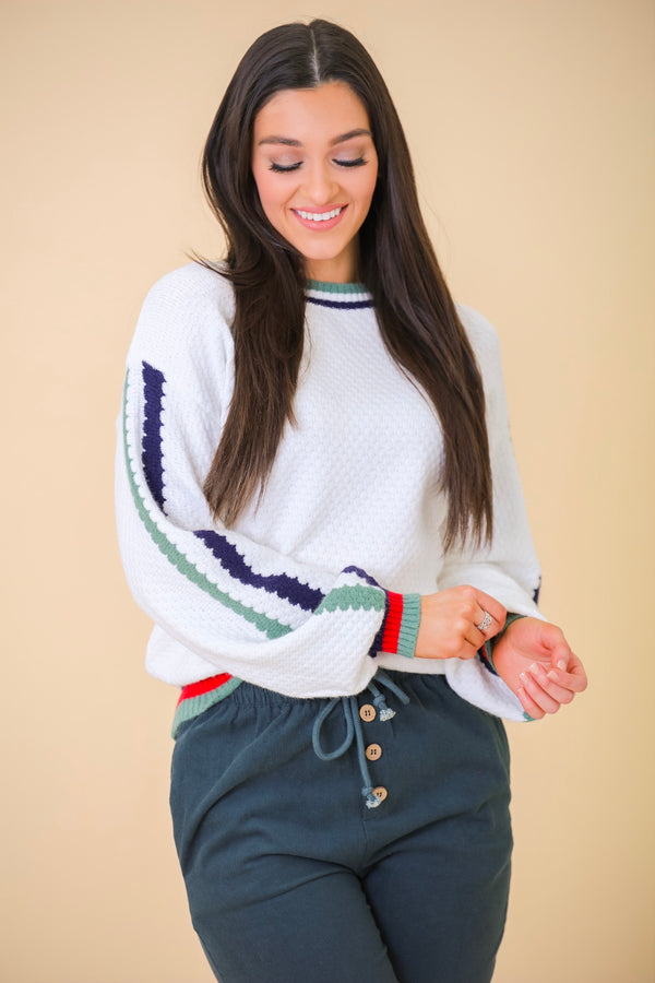 The World Is Waiting Multi Colored Stripe Textured Sweater - Tops - Wight Elephant Boutique