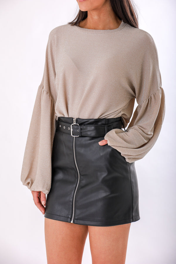 Trendsetter Faux Leather Belted Skirt