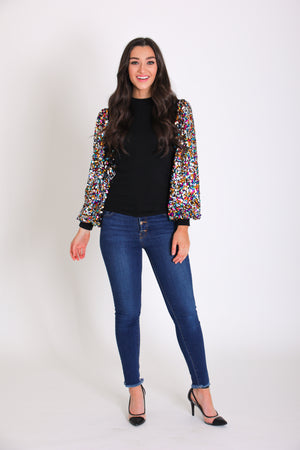 At the End of the Rainbow Sequin Sleeve Top