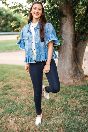 Time for a Twist Ruffled Stone Wash Jean Jacket