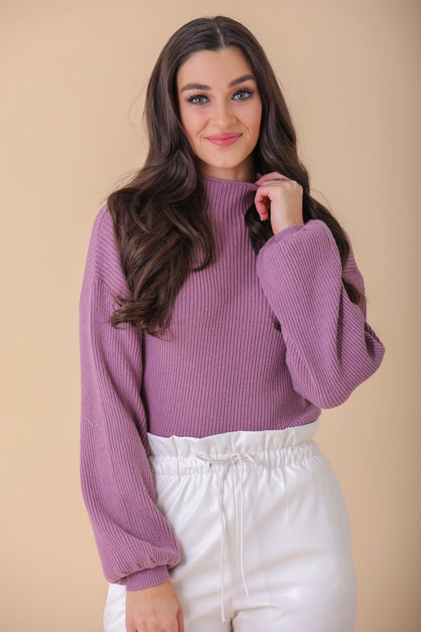 Favorite Color Mock Neck Sweater - Eggplant - Tops - Wight Elephant Boutique