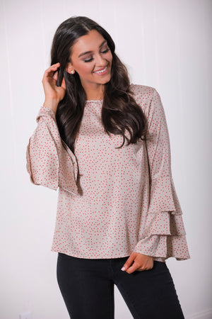 Charmed Life Polka Dot Bell Sleeve Top - Tops - Wight Elephant Boutique