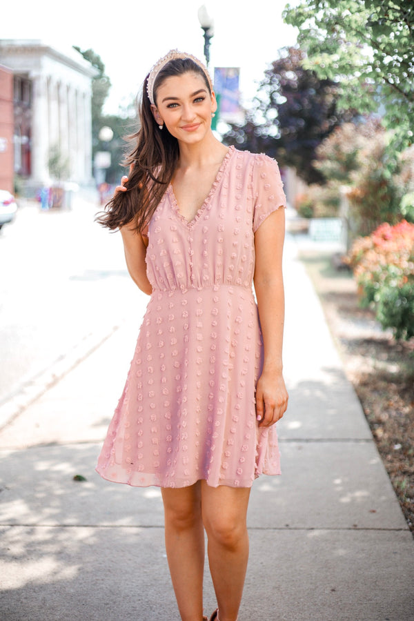 Stolen Glances Blush Swiss Dot Mini Dress