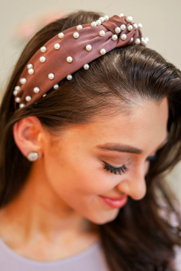 Crown Jewels Pearl Top Knot Headband - Mocha - Hair Accessories - Wight Elephant Boutique
