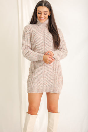Thankful for Speckles Balloon Sleeve Sweater Dress