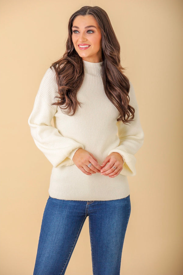 Favorite Color Ribbed Mock Neck Sweater - Ivory - Tops - Wight Elephant Boutique