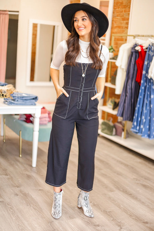 Contrarily Cute Contrast Stitch Jumpsuit - Jumpsuits - Wight Elephant Boutique