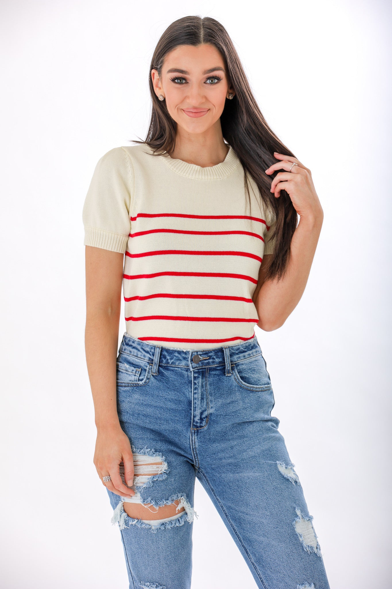 Candy Cane Striped Short Sleeve Sweater - Tops - Wight Elephant Boutique