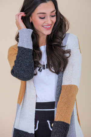 Build Yourself Up Color Block Cardigan - Tops - Wight Elephant Boutique