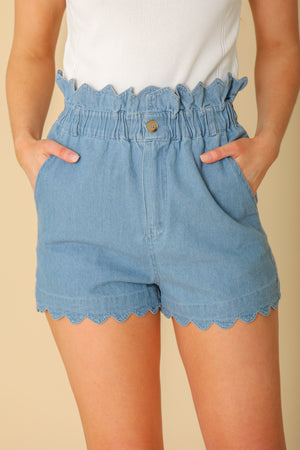 Spring Day High Waisted Scalloped Shorts - Shorts - Wight Elephant Boutique