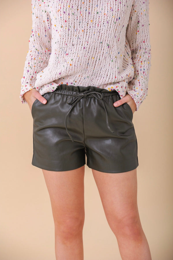 Tough Together Olive Faux Leather Shorts