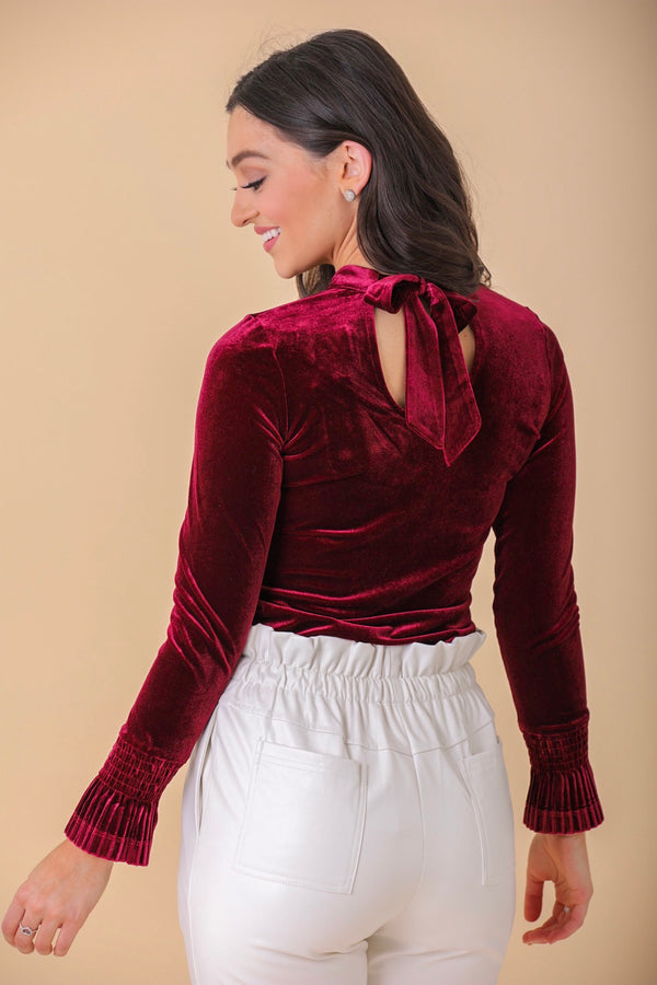 Tied With a Ribbon Velvet Back Tie Blouse - Tops - Wight Elephant Boutique