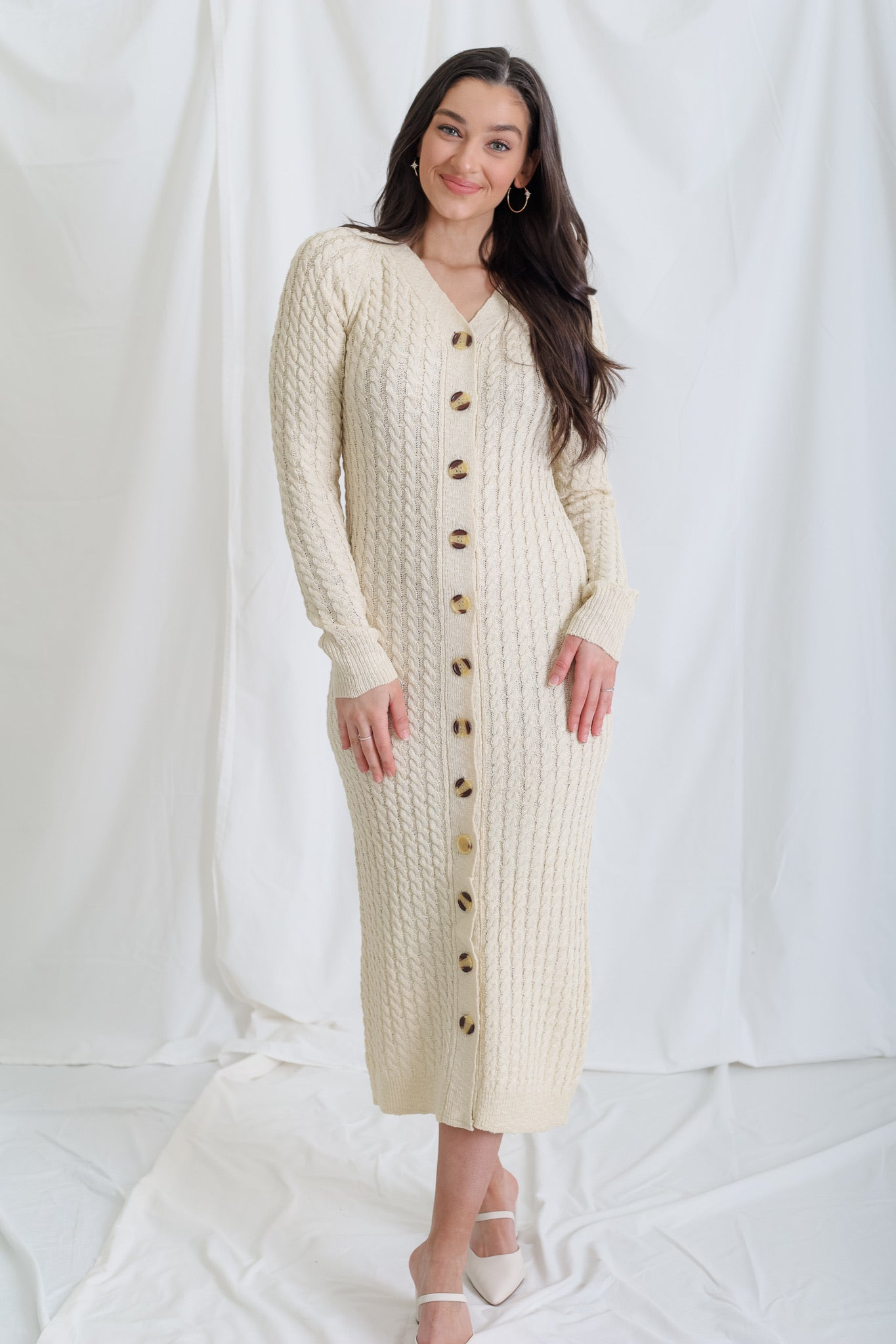 Cozy To The Max Cable Knit Sweater Dress - Oatmeal