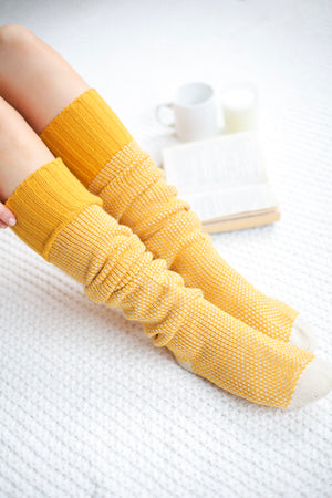 Knee High Knit Lounge Socks - Mustard - Socks - Wight Elephant Boutique