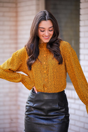 Spotted in the Wild Mustard Dalmatian Spot Blouse