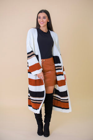 Wrap Me in Warm Long Striped Cardigan - Tops - Wight Elephant Boutique