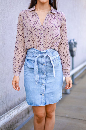Keep Me Close Western Denim Midi Skirt