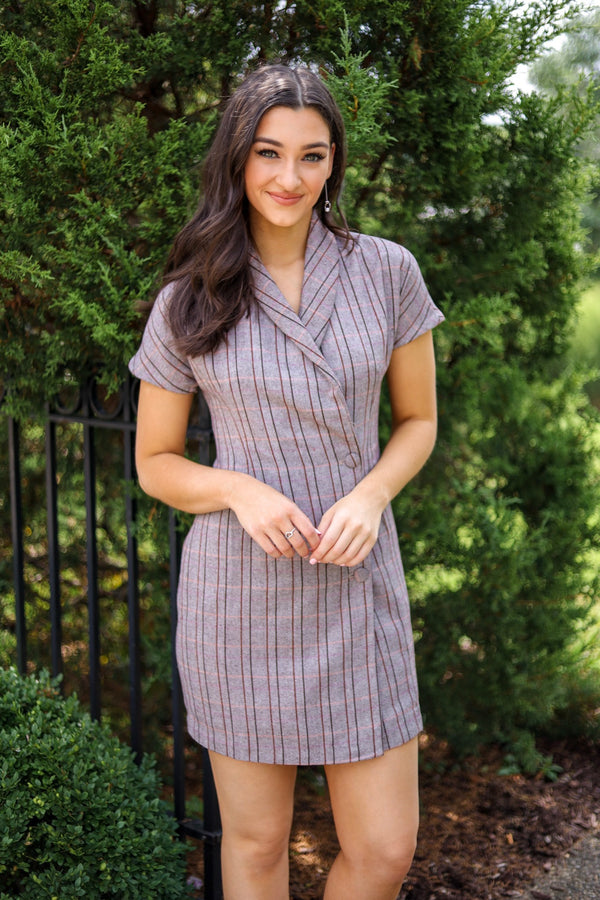 Ready For Business Grey Wool Checked Blazer Dress - Dresses - Wight Elephant Boutique