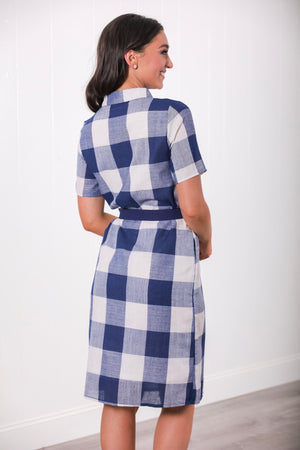 Blissful in Blue Gingham Button Up Midi Dress - Dresses - Wight Elephant Boutique