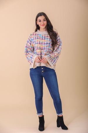 Colors of the Rainbow Round Neck Knit Sweater