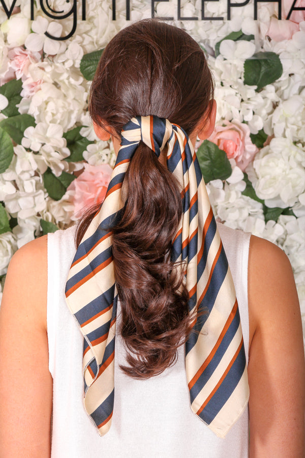 Dreamy Striped Hair Scarf - Camel and Navy - Hair Accessories - Wight Elephant Boutique