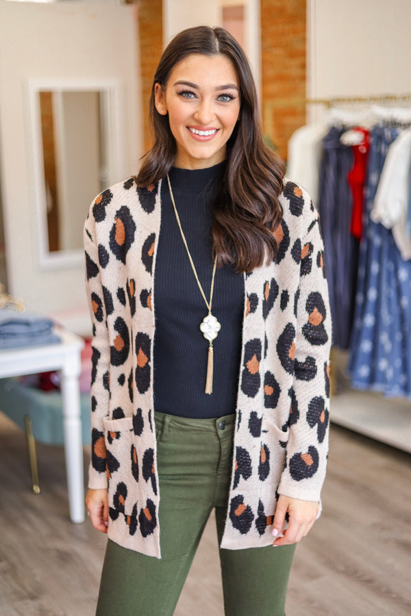 Change Your Spots Leopard Cardigan - Tops - Wight Elephant Boutique