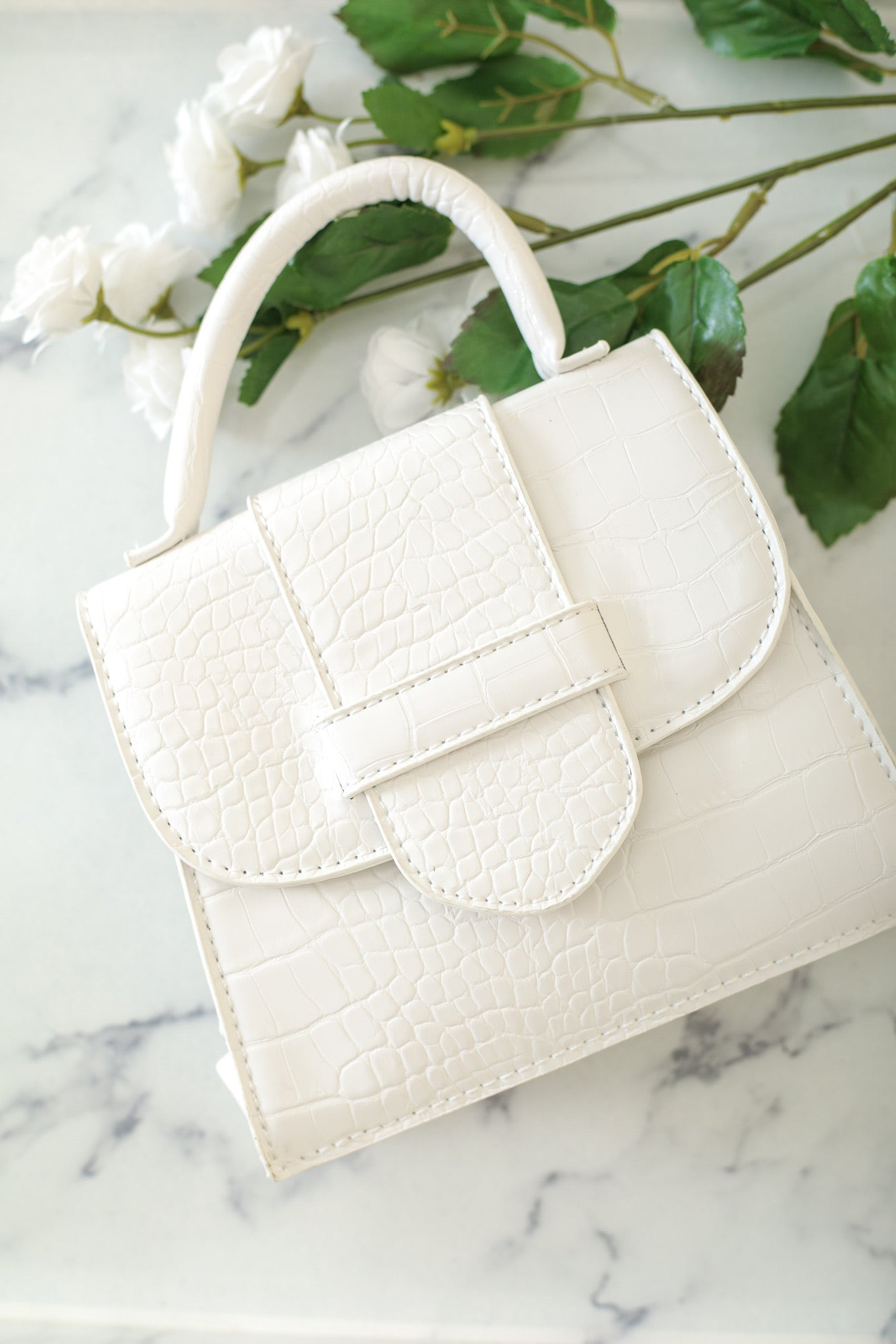 Everything I Need Small Snakeskin Waist Purse - White - Handbag - Wight Elephant Boutique