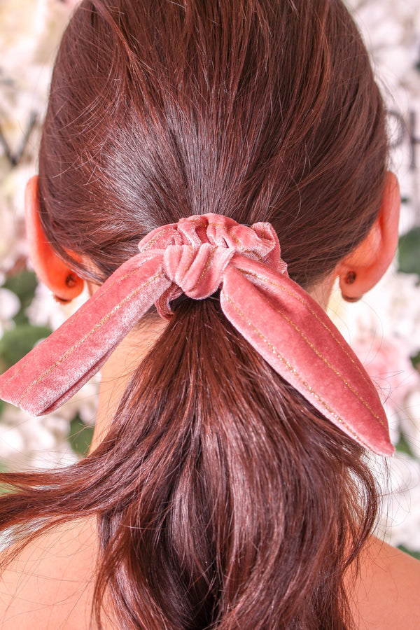 Velvet Bow Scrunchie - Blush Glitter - Hair Accessories - Wight Elephant Boutique