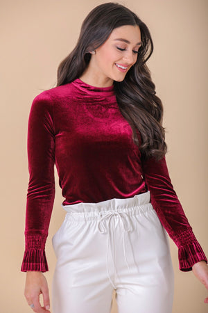 Tied With a Ribbon Velvet Back Tie Blouse