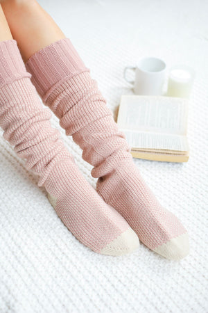 Knee High Knit Lounge Socks - Pink - Socks - Wight Elephant Boutique
