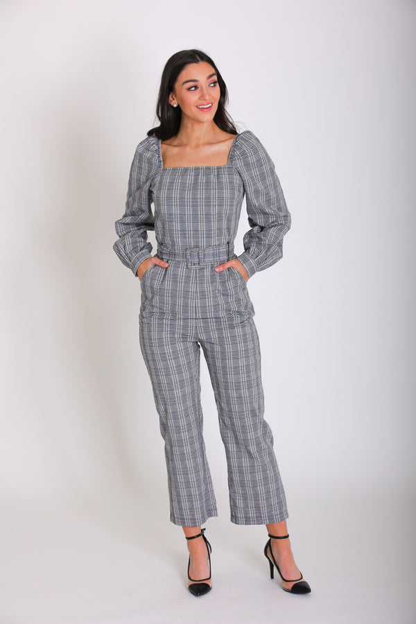 Daring and Dainty Belted Plaid Jumpsuit