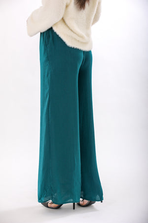 Celebrate Tonight Hunter Green Satin Pant - Pants - Wight Elephant Boutique