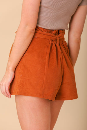Looking Sharp Rust Corduroy Shorts - Shorts - Wight Elephant Boutique