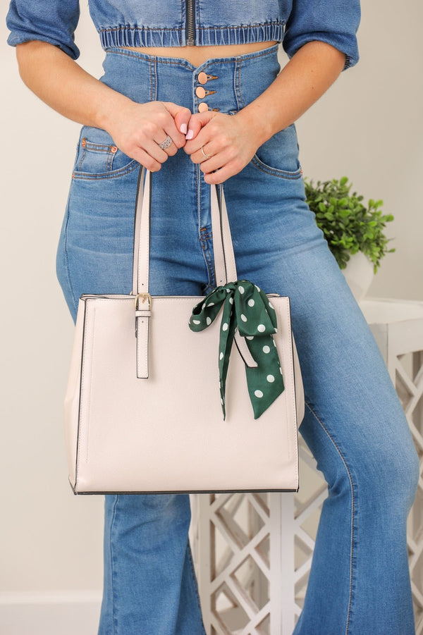 Wrapped With a Bow Scarf Accent Tote - Sand