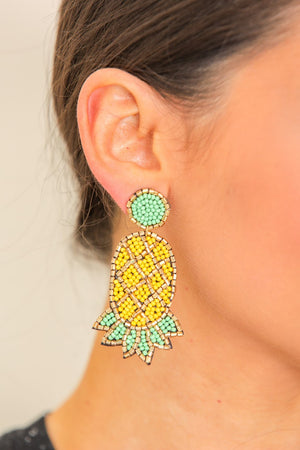 Tropical Fruit Beaded Pineapple Earrings