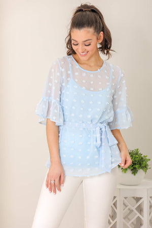 Blue Skies Swiss Dot Blouse