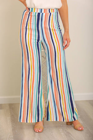 Colors of Summer Rainbow Striped Pant