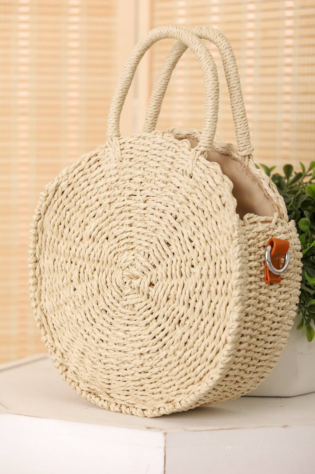 Weave It Together Round Straw Bag - Cream