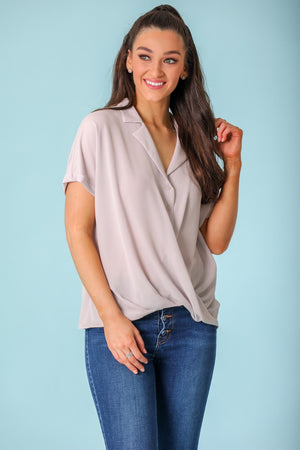 Full of Smiles Draped Collared Blouse - Tops - Wight Elephant Boutique