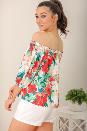 Morning Glory Floral Off Shoulder Top