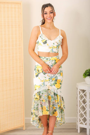 Willow Floral Top and Midi Skirt Set