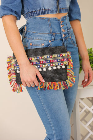 Pop of Color Thread Fringe Clutch - Black